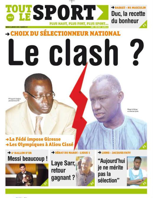A la Une du Journal Tout Le sport du mardi 08 janvier 2013