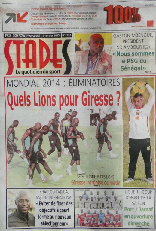 A la Une du Journal Stades du mercredi 09 janvier 2013