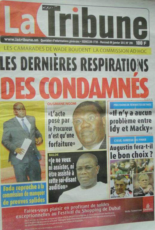A la Une du Journal La Tribune du mercredi 09 janvier 2013