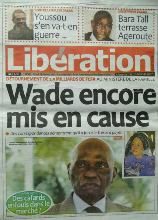 A la Une du Journal Libération du mercredi 09 janvier 2013