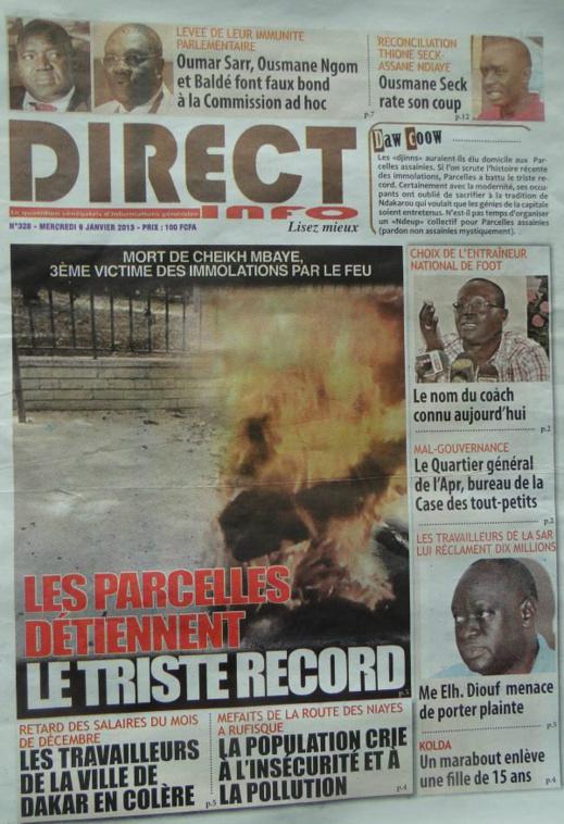 A la Une du Journal Direct Info du mercredi 09 janvier 2013