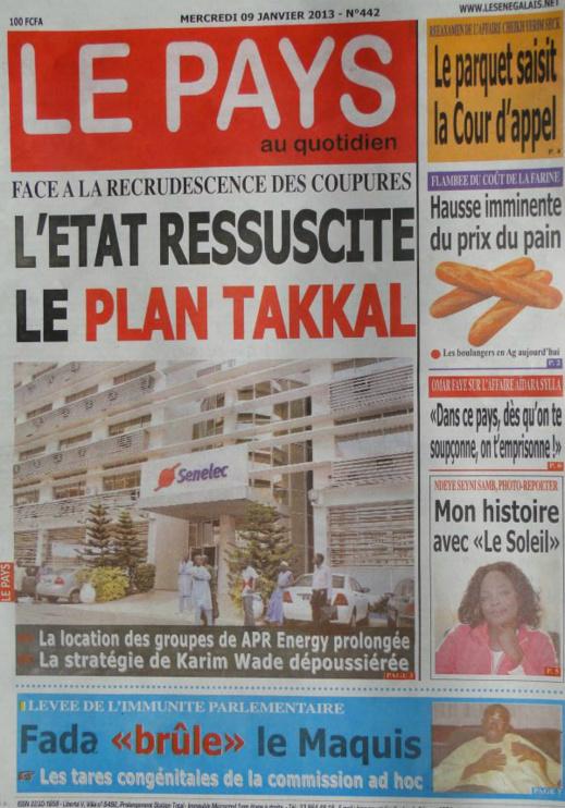 A la Une du Journal Le Pays du mercredi 09 janvier 2013