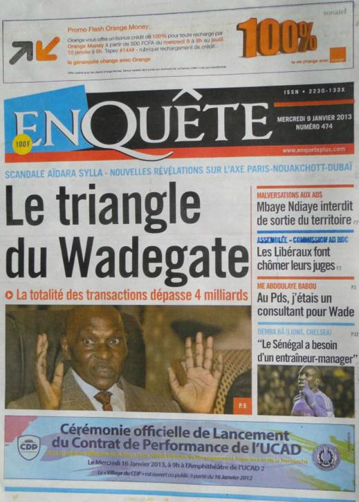 A la Une du Journal Enquête du mercredi 09 janvier 2013