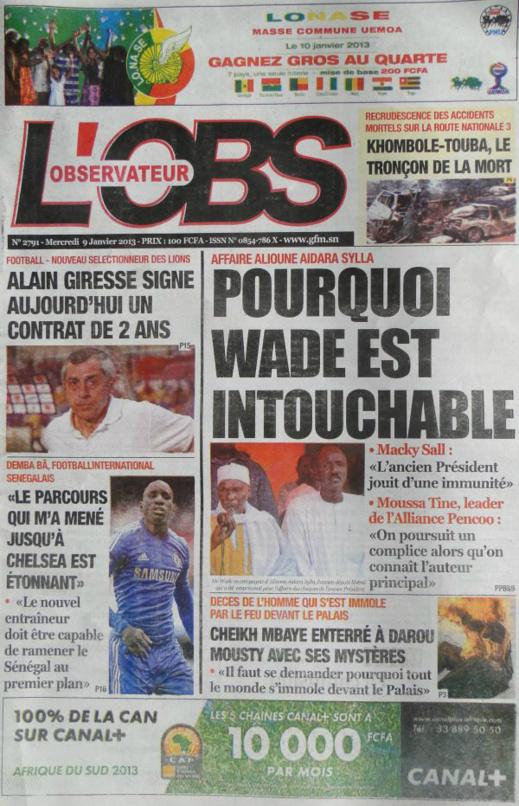 A la Une du Journal L'Observateur du mercredi 09 janvier 2013