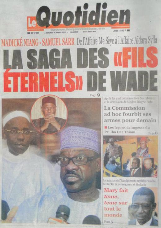 A la Une du Journal Le Quotidien du mercredi 09 janvier 2013