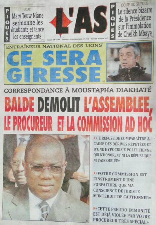A la Une du Journal L'As du mercredi 09 janvier 2013