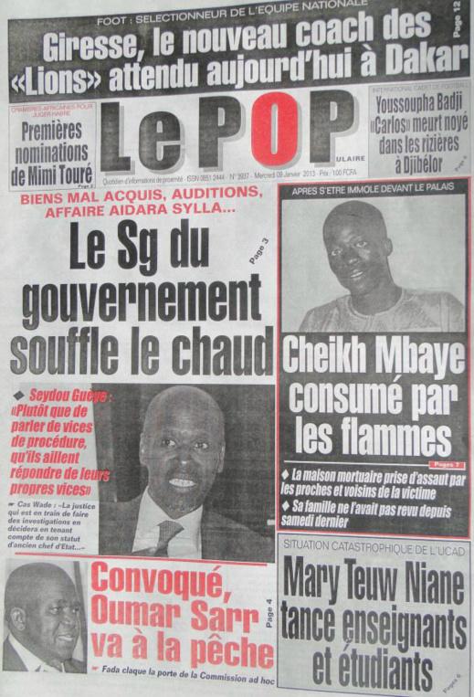 A la Une du Journal Le Populaire du mercredi 09 janvier 2013