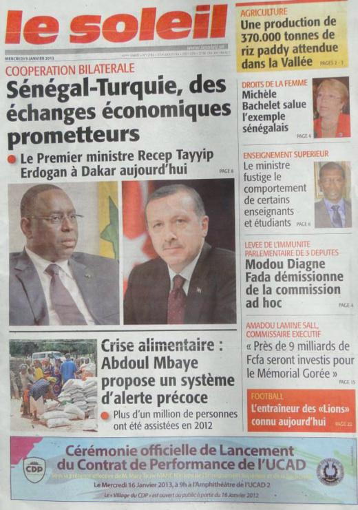 A la Une du Journal Le Soleil du mercredi 09 janvier 2013