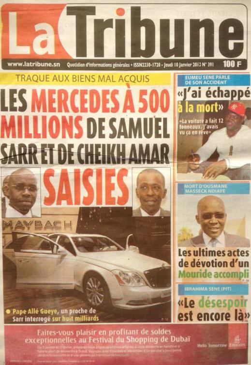 A la Une du Journal La Tribune du jeudi 10 janvier 2013