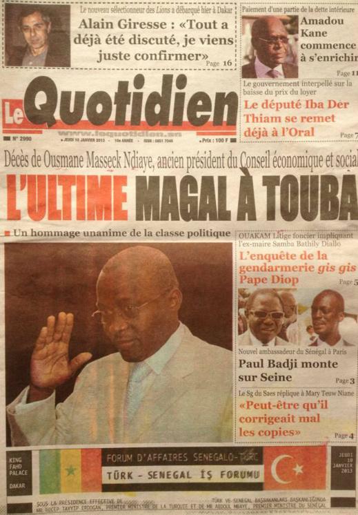 A la Une du Journal Le Quotidien du jeudi 10 janvier 2013