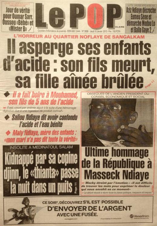 A la Une du Journal Le Populaire du jeudi 10 janvier 2013