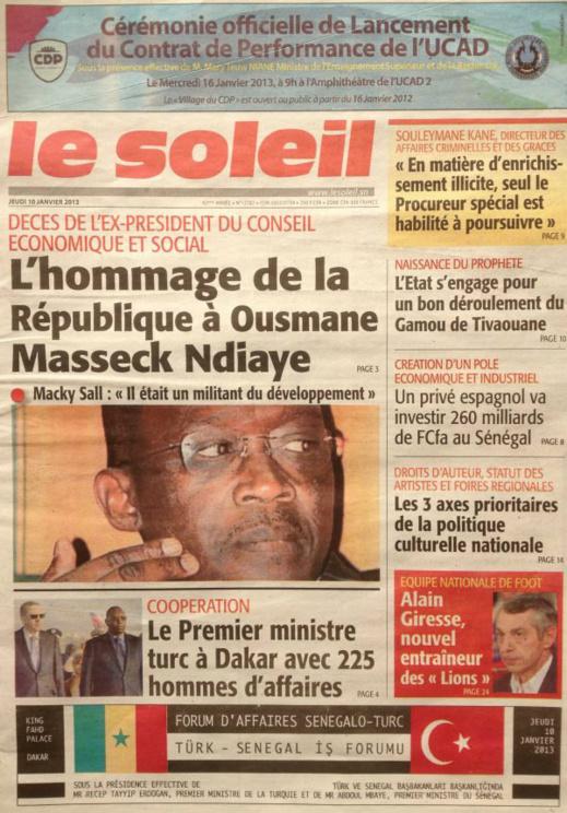 A la Une du Journal Le Soleil du jeudi 10 janvier 2013