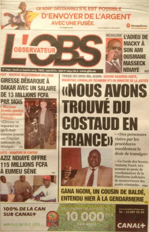 A la Une du Journal L'Observateur du jeudi 10 janvier 2013