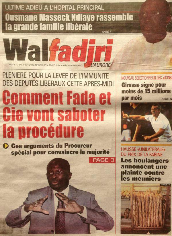 A la Une du Journal Walfadjri du jeudi 10 janvier 2013