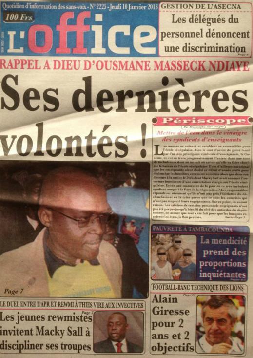 A la Une du Journal L'Office du jeudi 10 janvier 2013