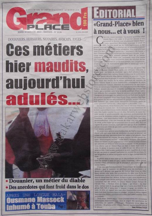 A la Une du Journal Walf Grand Place du jeudi 10 janvier 2013