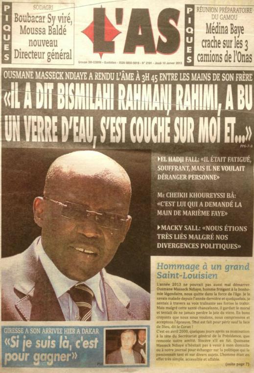A la Une du Journal L'As du jeudi 10 janvier 2013