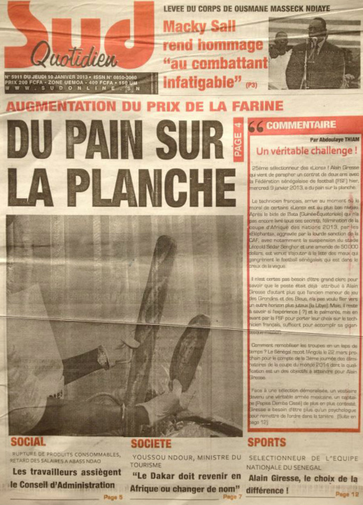 A la Une du Journal Sud Quotidien du jeudi 10 janvier 2013