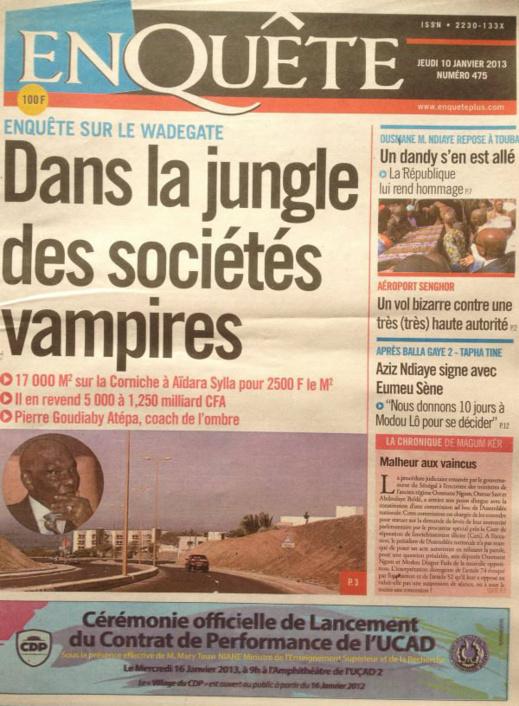 A la Une du Journal EnQuête du jeudi 10 janvier 2013