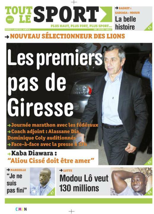 A la Une du Journal Tout Le sport du vendredi 11 janvier 2013