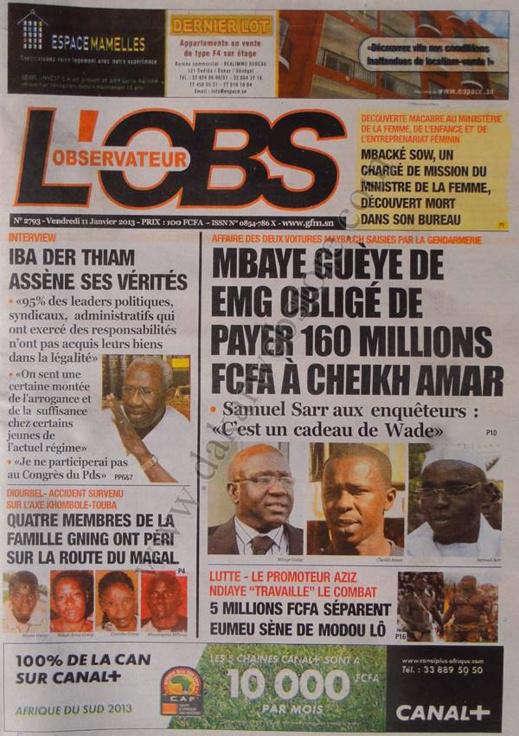 A la Une du Journal L'observateur du vendredi 11 janvier 2013