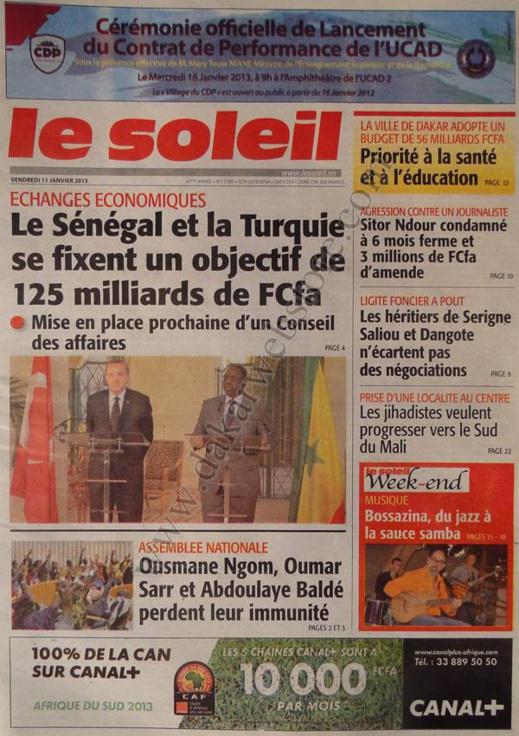 A la Une du Journal Le Soleil du vendredi 11 janvier 2013