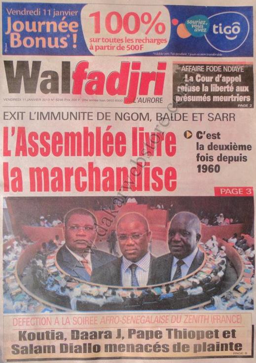 A la Une du Journal Walfadjri du vendredi 11 janvier 2013