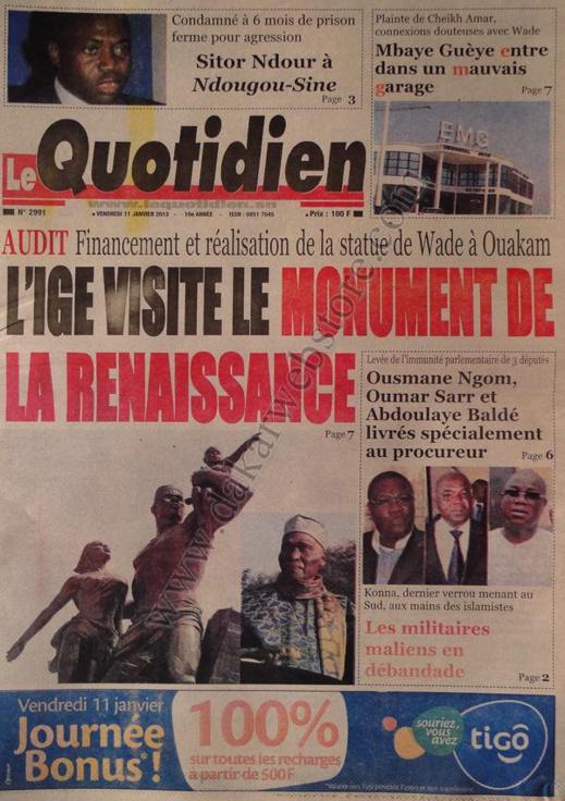 A la Une du Journal Le Quotidien du vendredi 11 janvier 2013