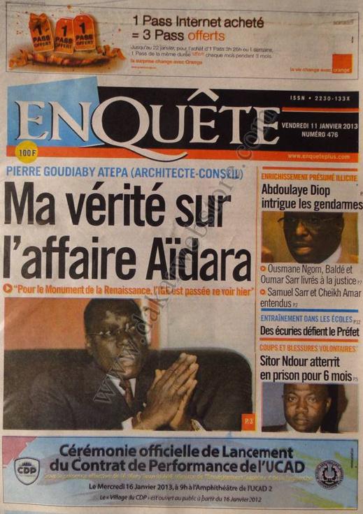 A la Une du Journal EnQuête du vendredi 11 janvier 2013