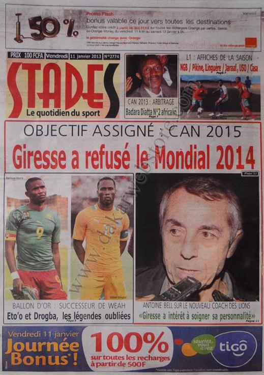 A la Une du Journal Stades du vendredi 11 janvier 2013