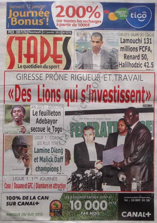 A la Une du Journal Stades du Samedi 12 janvier 2013