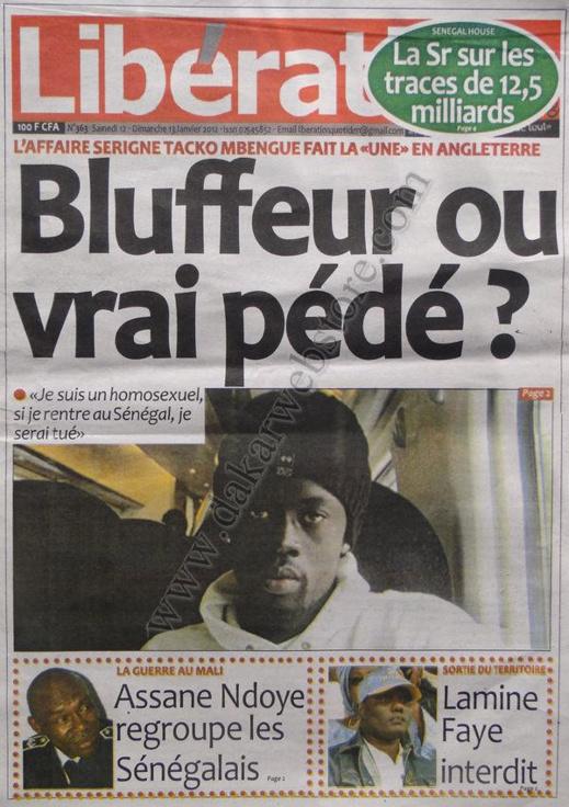 A la Une du Journal Libération du Samedi 12 janvier 2013