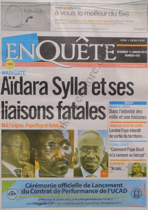 A la Une du Journal EnQuête du Samedi 12 janvier 2013