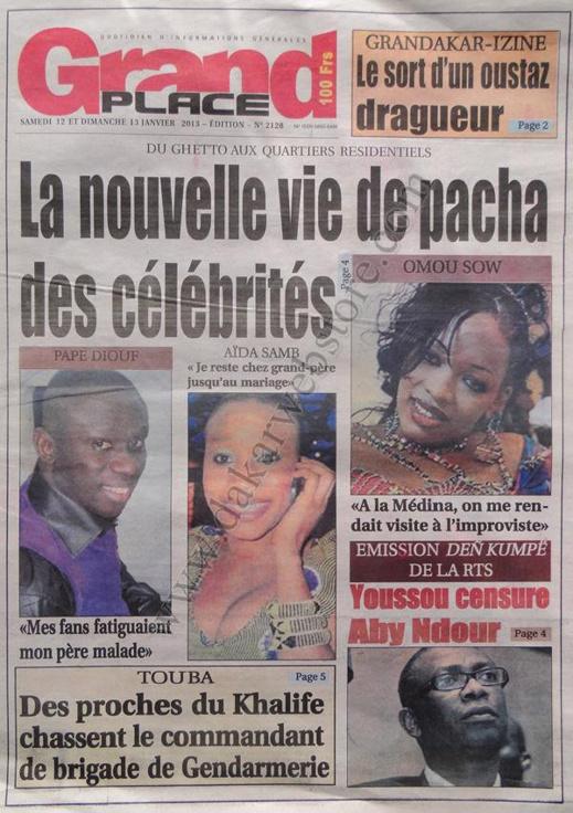 A la Une du Journal Grand Place du Samedi 12 janvier 2013
