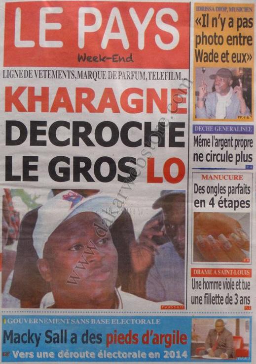 A la Une du Journal LE PAYS du Samedi 12 janvier 2013