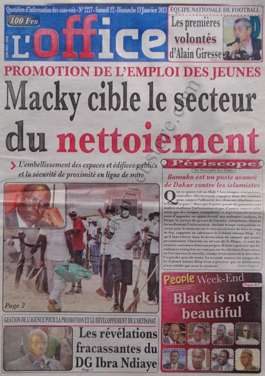 A la Une du Journal L'Office du Samedi 12 janvier 2013