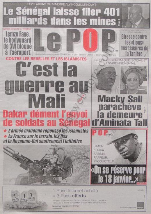 A la Une du Journal Le Populaire du Samedi 12 janvier 2013