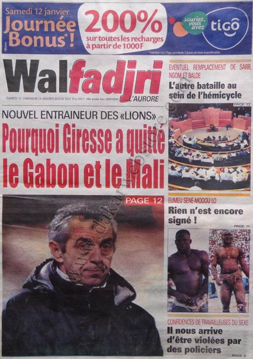 A la Une du Journal Walfadjri du Samedi 12 janvier 2013