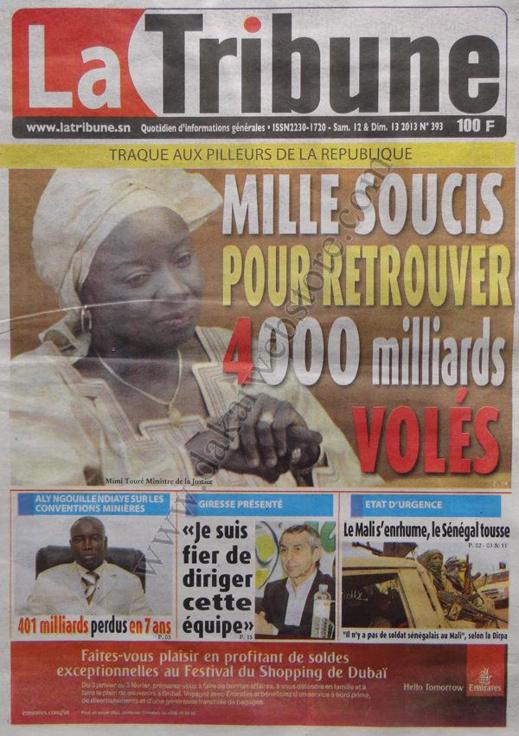 A la Une du Journal La Tribune du Samedi 12 janvier 2013
