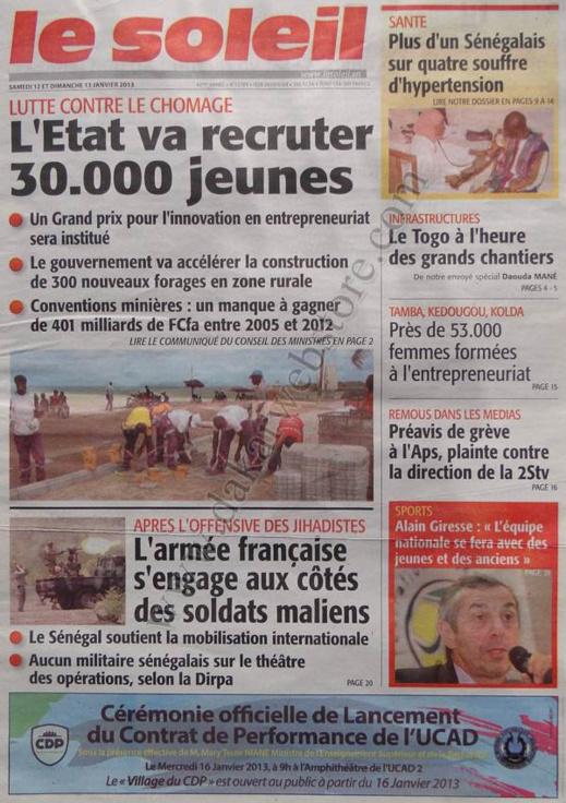 A la Une du Journal Le Soleil du Samedi 12 janvier 2013