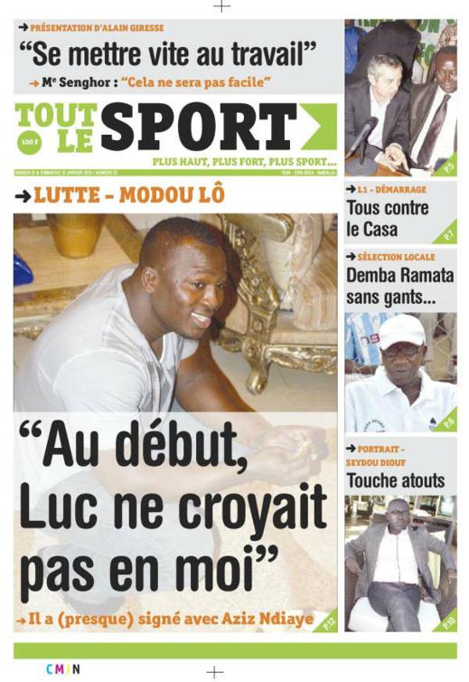 A la Une du Journal Tout Le Sport du Samedi 12 janvier 2013
