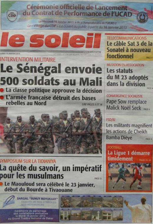 A la Une du Journal Le Soleil du lundi 14 janvier 2013