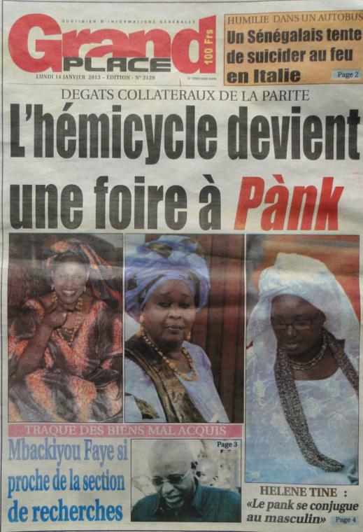 A la Une du Journal Grand Place du lundi 14 janvier 2013