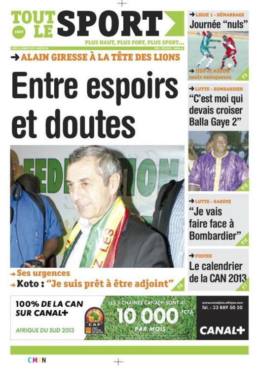 A la Une du Journal Tout Le sport du lundi 14 janvier 2013