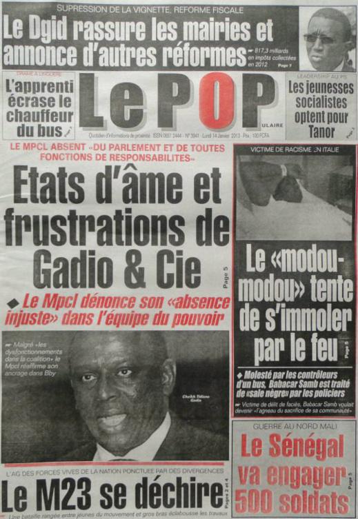A la Une du Journal Le Populaire du Samedi 05 janvier 2013