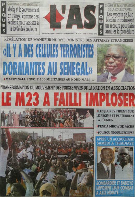 A la Une du Journal L'As du lundi 14 janvier 2013