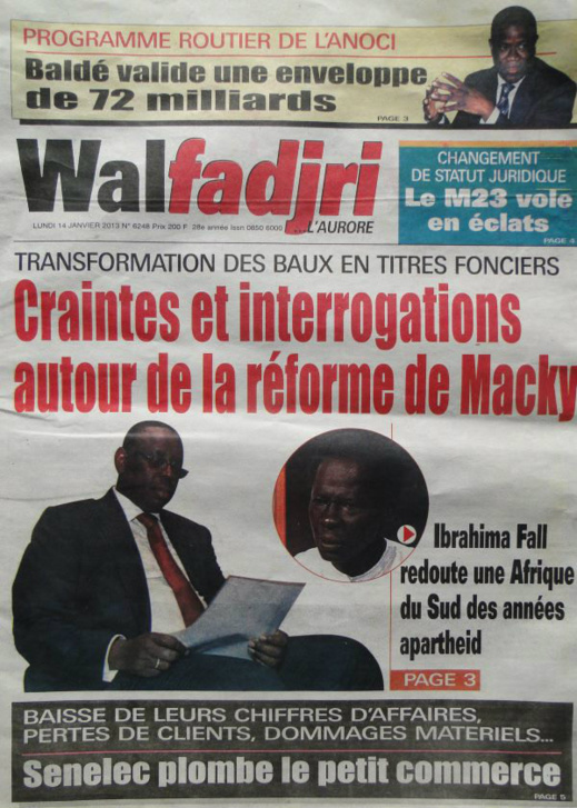 A la Une du Journal Walfadjri du lundi 14 janvier 2013