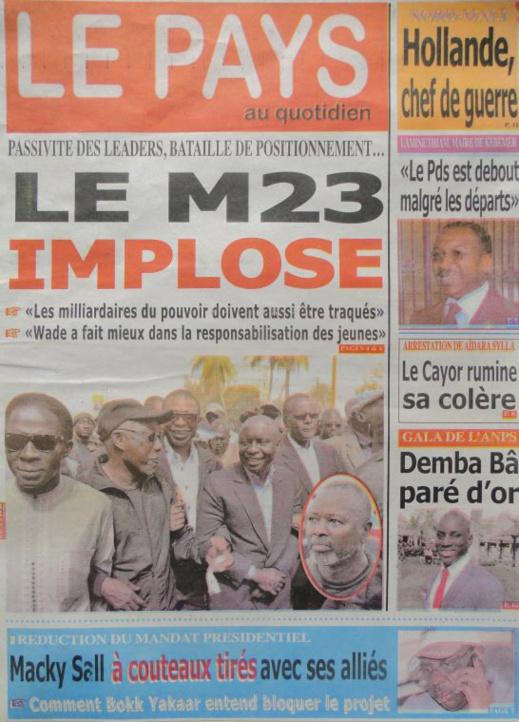 A la Une du Journal Le Pays du lundi 14 janvier 2013