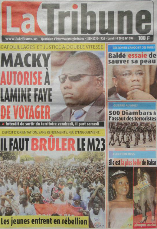 A la Une du Journal La Tribune du lundi 14 janvier 2013