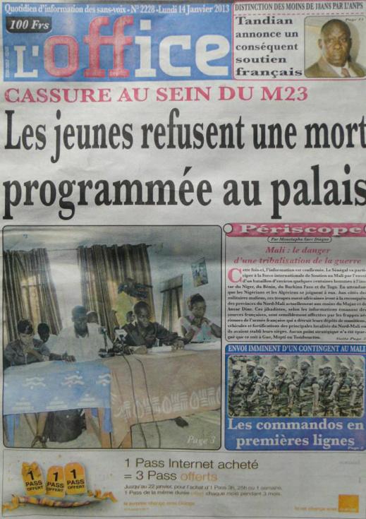 A la Une du Journal L'Office du lundi 14 janvier 2013
